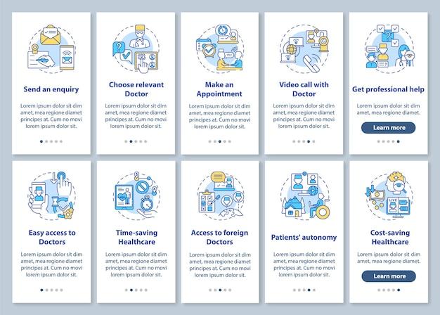 Tela da página do aplicativo móvel de integração da telemedicina com o conjunto de conceitos