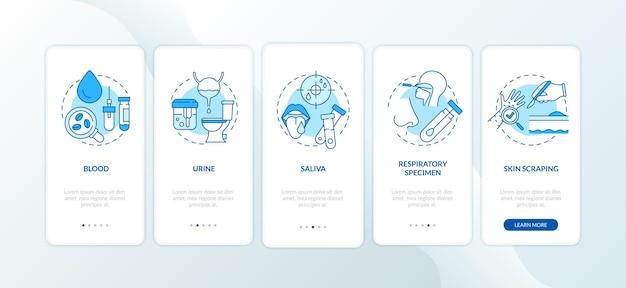 Tela da página do aplicativo móvel de integração de amostras de laboratório com conceitos