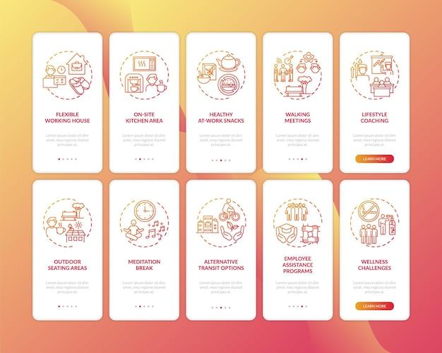 Tela da página do aplicativo móvel de integração de bem-estar no local de trabalho com o conjunto de conceitos. reuniões ambulantes, lanches saudáveis, instruções gráficas de cinco etapas. modelo de iu com ilustrações coloridas