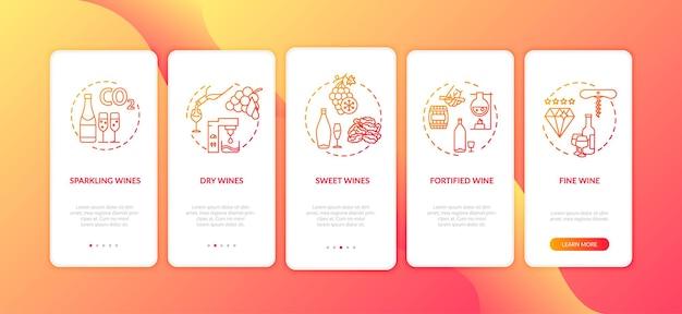 Tela da página do aplicativo móvel de integração de degustação de vinhos com conceitos. prove os tipos de álcool nas instruções gráficas de 5 etapas do passo a passo da vinícola. modelo de vetor de interface do usuário com ilustrações coloridas rgb
