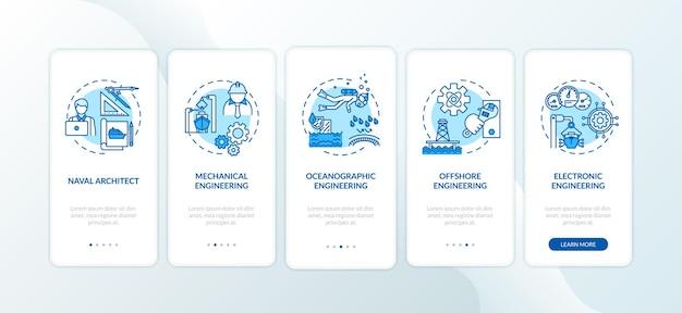 Tela da página do aplicativo móvel de integração de engenharia naval com o conjunto de conceitos. as operações de reparo do barco apresentam instruções gráficas de 5 etapas. modelo de vetor de interface do usuário com ilustrações coloridas rgb