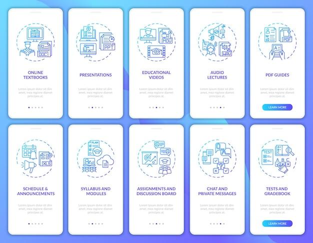 Tela da página do aplicativo móvel de integração de ensino online com conjunto de conceitos. a tutoria online beneficia um passo a passo de 10 passos modelo de iu com cor rgb