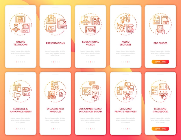 Tela da página do aplicativo móvel de integração de ensino online com conjunto de conceitos. desafio de ensino de inglês online passo a passo modelo de iu de 10 etapas com ilustrações coloridas rgb