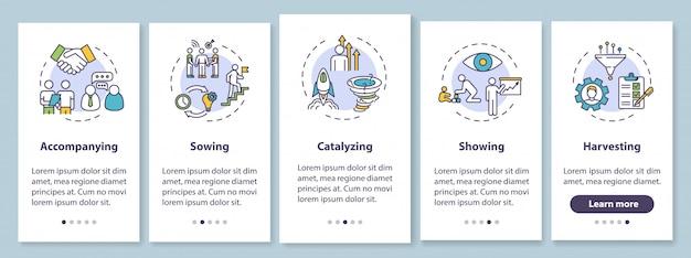 Tela da página do aplicativo móvel de integração de gerenciamento corporativo com conceitos. orientação para colega. apoie as instruções gráficas de 5 etapas do passo a passo do funcionário. modelo de iu com ilustrações coloridas rgb