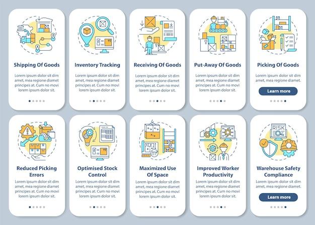 Tela da página do aplicativo móvel de integração de gerenciamento de armazém com ilustrações do conjunto de conceitos