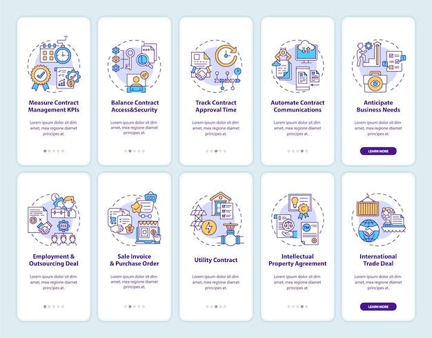 Tela da página do aplicativo móvel de integração de gerenciamento de contratos com o conjunto de conceitos