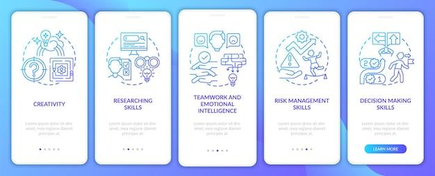 Tela da página do aplicativo móvel de integração de habilidades da marinha de problemas