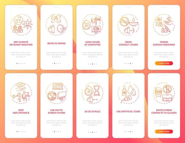 Tela da página do aplicativo móvel de integração de saúde ocular com conjunto de conceitos para ilustrações