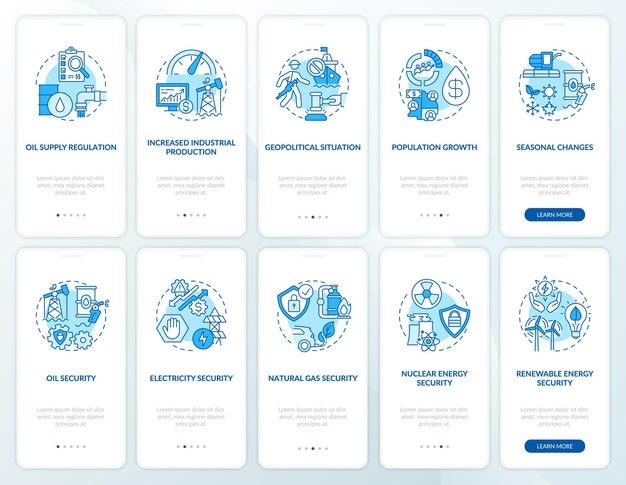 Tela da página do aplicativo móvel de integração de segurança energética com o conjunto de conceitos. tipos e fatores de custos explicam as instruções gráficas de 5 etapas.