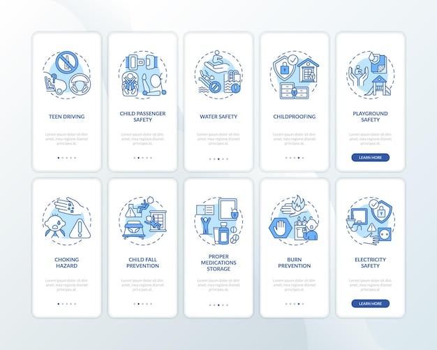 Tela da página do aplicativo móvel de integração de segurança infantil azul com o conjunto de conceitos
