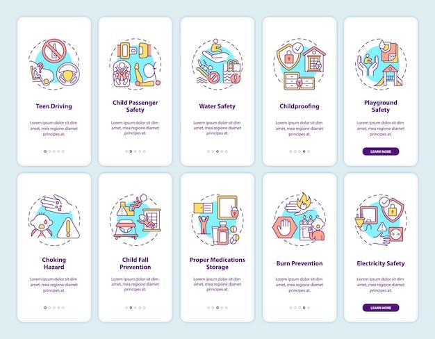 Tela da página do aplicativo móvel de integração de segurança infantil com o conjunto de conceitos