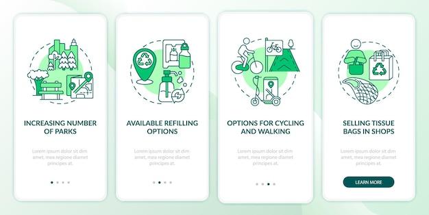 Tela da página do aplicativo móvel de integração de soluções verdes. o número crescente de parques percorre 4 etapas de instruções gráficas com conceitos. modelo de vetor ui, ux e gui com ilustrações coloridas lineares
