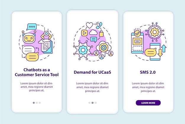Tela da página do aplicativo móvel de integração de tendências do software de mensagens