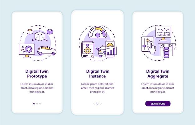 Tela da página do aplicativo móvel de integração de tipos de gêmeos digitais. protótipo de automação com instruções gráficas de 3 etapas com conceitos. modelo de vetor ui, ux e gui com ilustrações coloridas lineares
