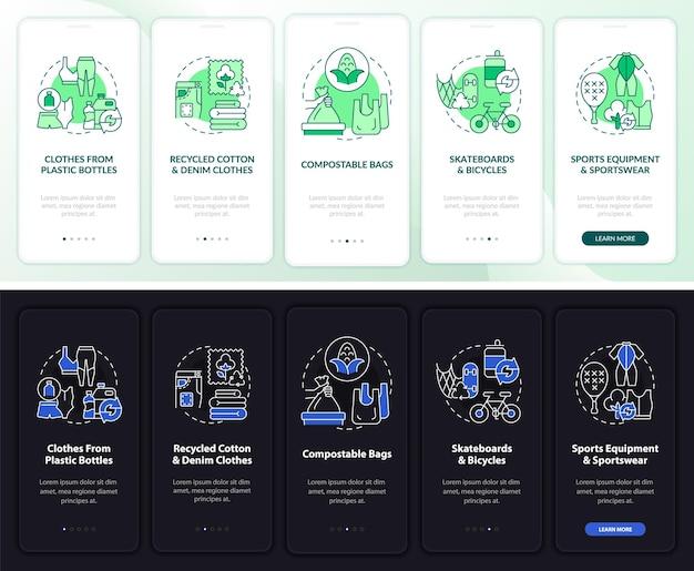 Tela da página do aplicativo móvel de integração de upcycling