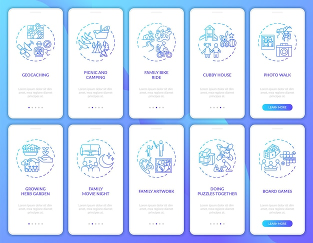 Tela da página do aplicativo móvel de integração divertida para a família com o conjunto de conceitos. atividades de jogos ao ar livre. reunião familiar: 10 etapas. modelo de interface do usuário com ilustrações coloridas rgb