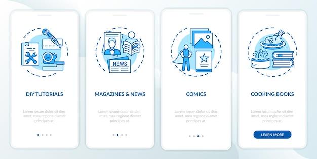 Tela da página do aplicativo móvel de integração do catálogo da biblioteca online com conceitos