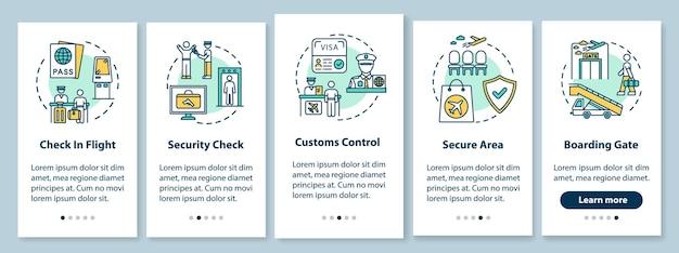Tela da página do aplicativo móvel de integração do guia do aeroporto com conceitos. instruções gráficas de cinco etapas para embarque em voo comercial. modelo de vetor de interface do usuário com ilustrações coloridas rgb