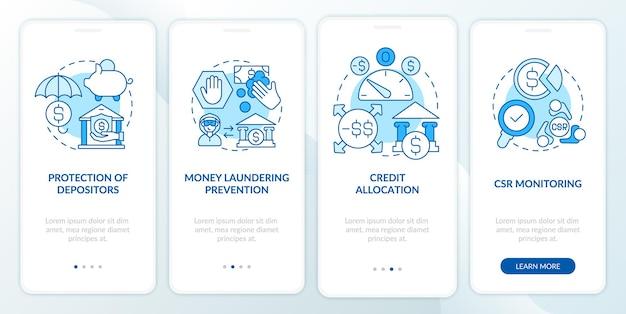 Tela da página do aplicativo móvel de integração do sistema de regulamentação do banco. passo a passo de alocação de crédito 4 etapas de instruções gráficas com conceitos. modelo de vetor ui, ux e gui com ilustrações coloridas lineares