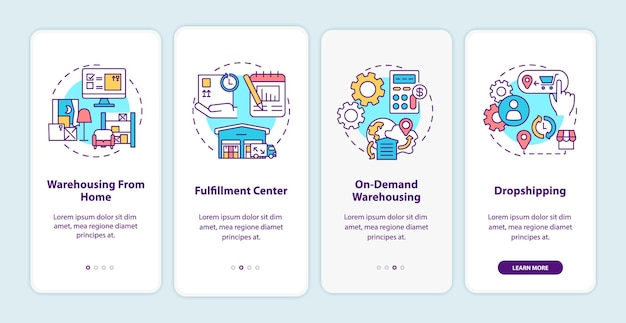 Tela da página do aplicativo móvel de integração dos serviços ao cliente do warehouse com ilustrações dos conceitos