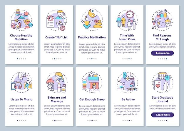 Tela da página do aplicativo móvel de integração pessoal com conceitos