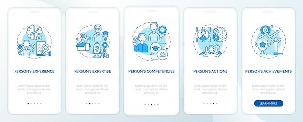 Tela da página do aplicativo móvel de integração turquesa dos componentes da marca pessoal com conceitos