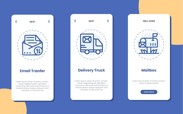 Tela da página do aplicativo móvel do serviço postal ilustração do ícone da caixa de correio e caminhão de entrega de transferência de e-mail Vetor Premium