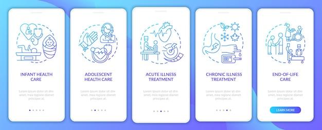 Tela da página do aplicativo móvel do suporte do médico de família com conceitos