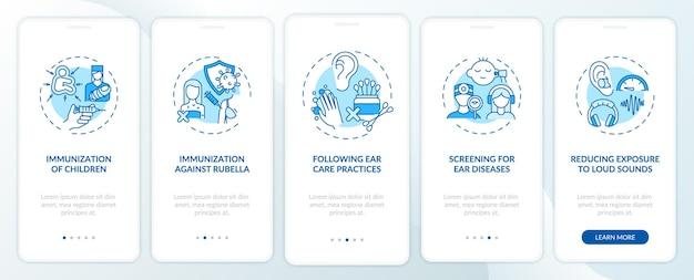 Tela da página do aplicativo móvel para evitar perda de audição com conceitos