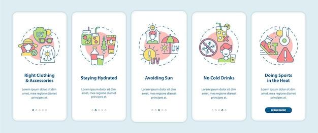 Tela da página do aplicativo móvel para prevenção de insolação.