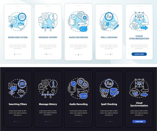 Tela da página do aplicativo móvel para profissionais do serviço de mensagens. histórico de bate-papo com 5 etapas e instruções gráficas com conceitos. modelo de vetor ui, ux e gui com ilustrações lineares de modo noturno e diurno