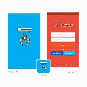 Tela de abertura do gancho da empresa e página de login com o modelo do logotipo. modelo de negócio on-line móvel