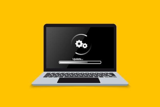 Tela de atualização do laptop carregando ou processo de atualização na tela do laptop instalar o sistema operacional do software