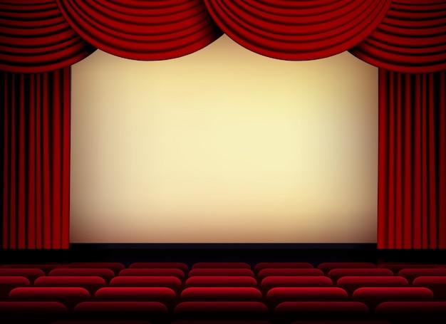Tela de auditório de teatro ou cinema com cortinas e assentos vermelhos