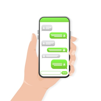 Tela de bate-papo com a mão. mensagem de texto. bolha de bate-papo verde. tela do smartphone.