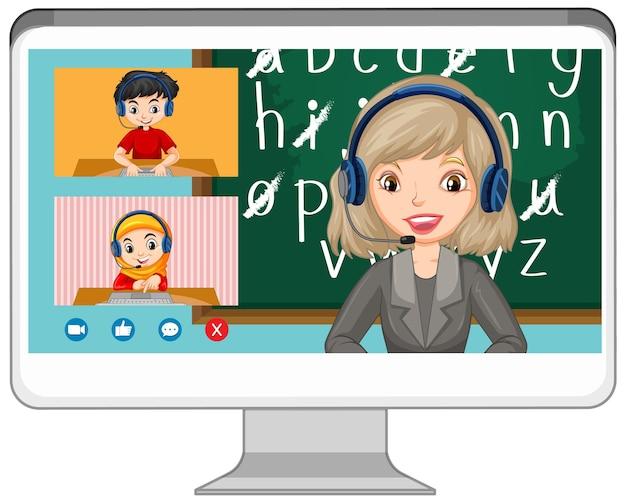Tela de bate-papo por vídeo do aluno online na tela do computador em fundo branco