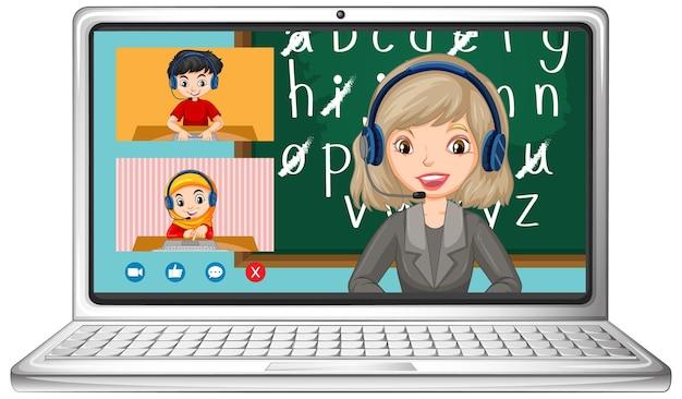 Tela de bate-papo por vídeo do aluno online no laptop em fundo branco