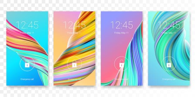 Tela de bloqueio de tela móvel com fundo abstrato papel de parede moderno. modelo de bloqueio de tela do smartphone ou autenticação de acesso por senha da tela de bloqueio com tema brilhante