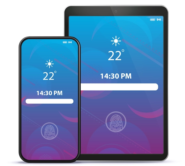 Tela de bloqueio do smartphone e tablet