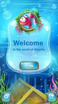 Tela de boas-vindas para interface de jogos submarinos
