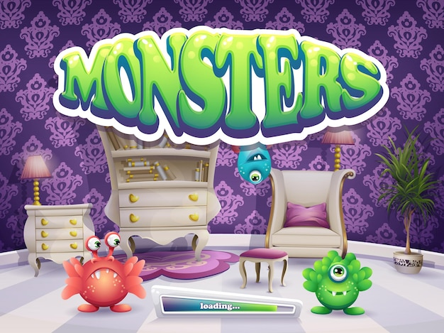 Tela de carregamento para jogos de monstros