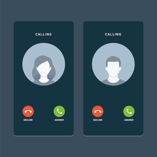 Tela de chamada com avatar sem rosto. ilustração vetorial isolada