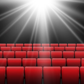 Tela de cinema com assentos vermelhos. conceito gráfico para seu projeto. design de cartaz estréia cinema cinema com tela branca.