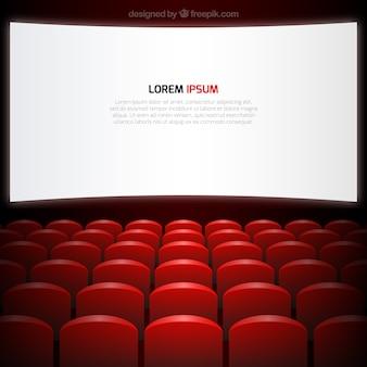 Tela de cinema e assentos