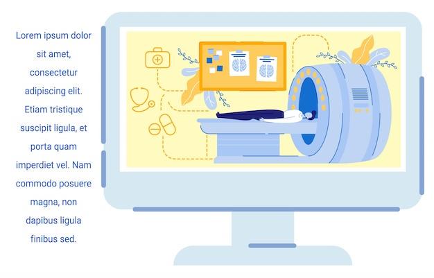Tela de computador com imagem homem tendo exame de ressonância magnética.