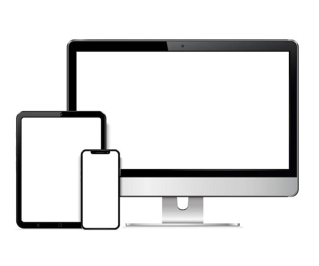 Tela de computador realista, tablet, smartphone