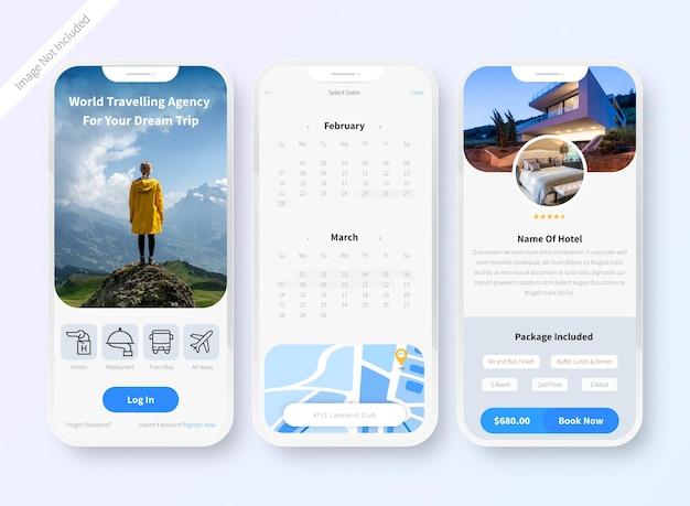 Tela de design de iu do aplicativo de reserva de hotel