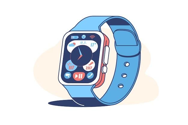 Tela de dispositivo de relógio inteligente com ilustração de estilo simples de ícones de aplicativos