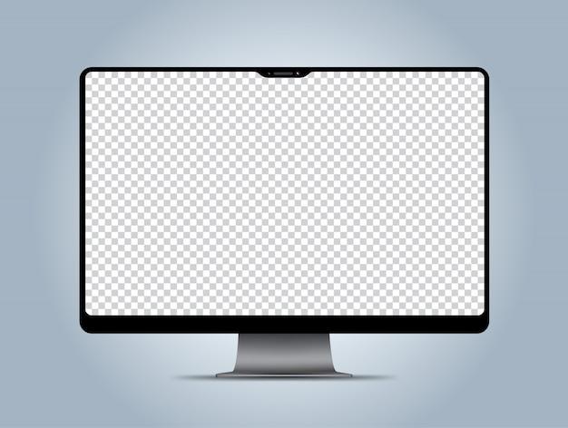 Tela de exibição transparente de maquete de computador