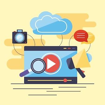 Tela de filme com ícones multimídia